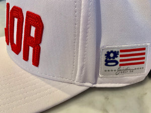 "White Red Flat Bill ""MAJOR"" Hat Nylon Blend Solid Back Snapback"