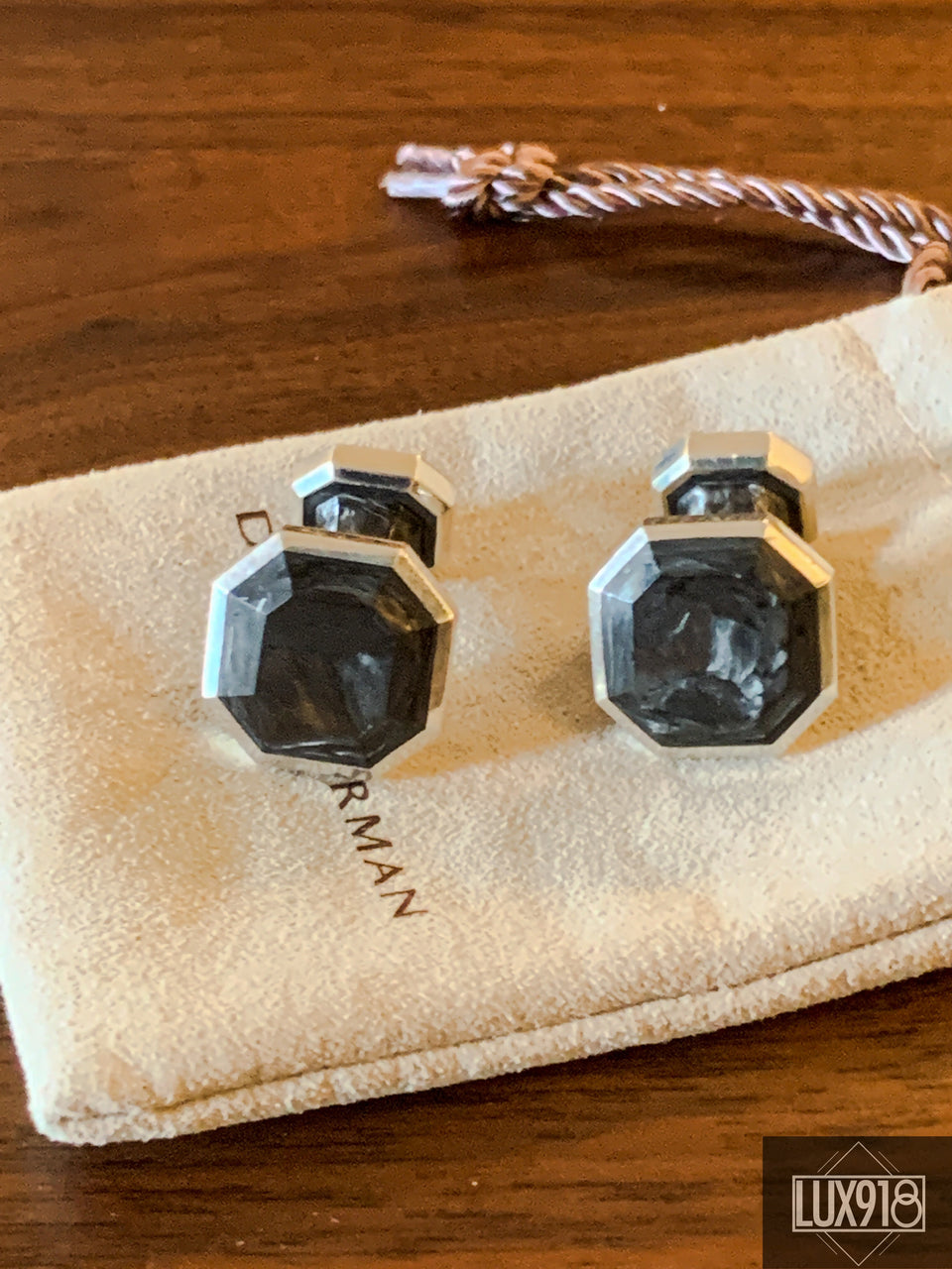 David Yurman Sterling Silver & Forged Carbon Cufflinks
