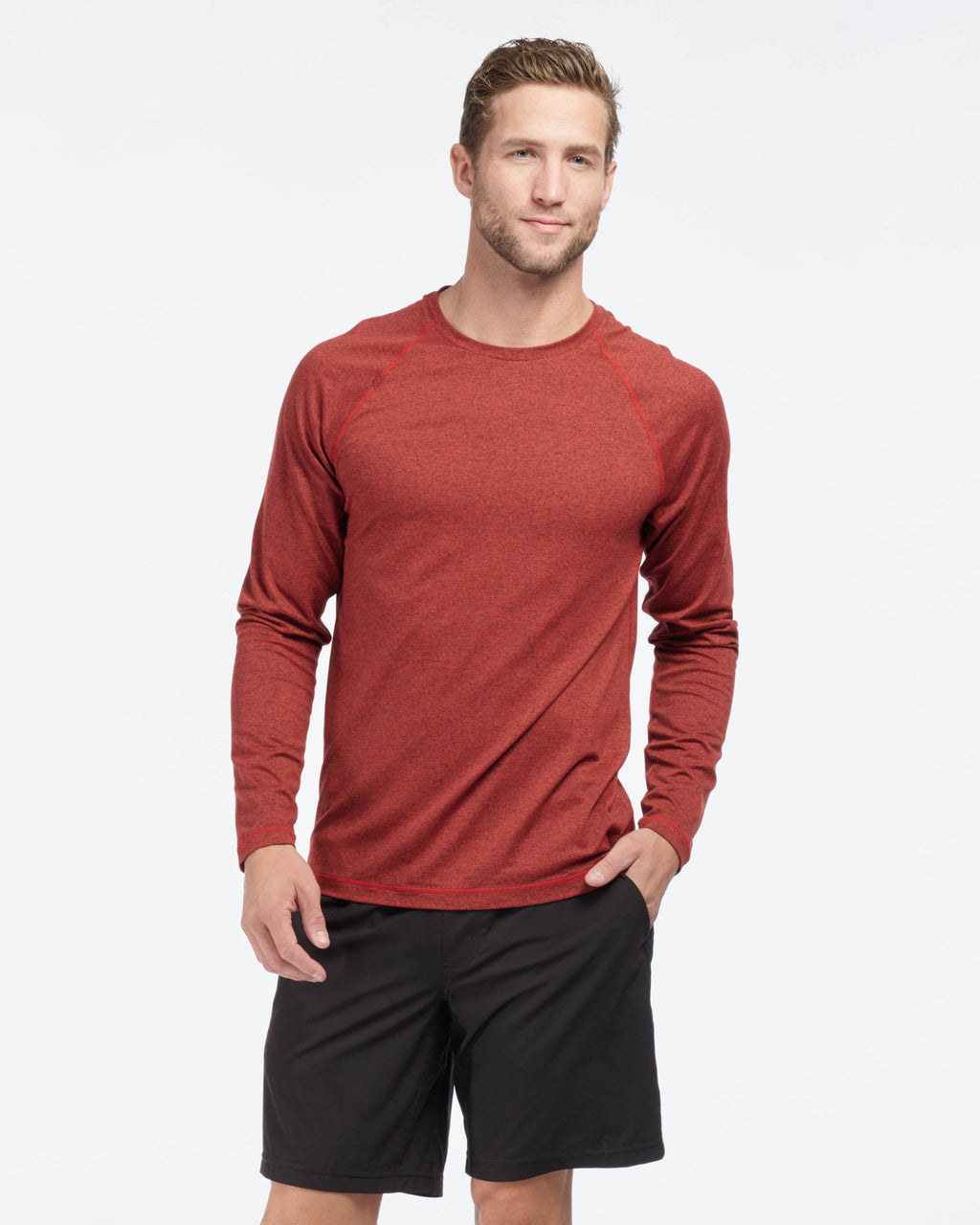 Reign Long Sleeve, Cherry Red Heather