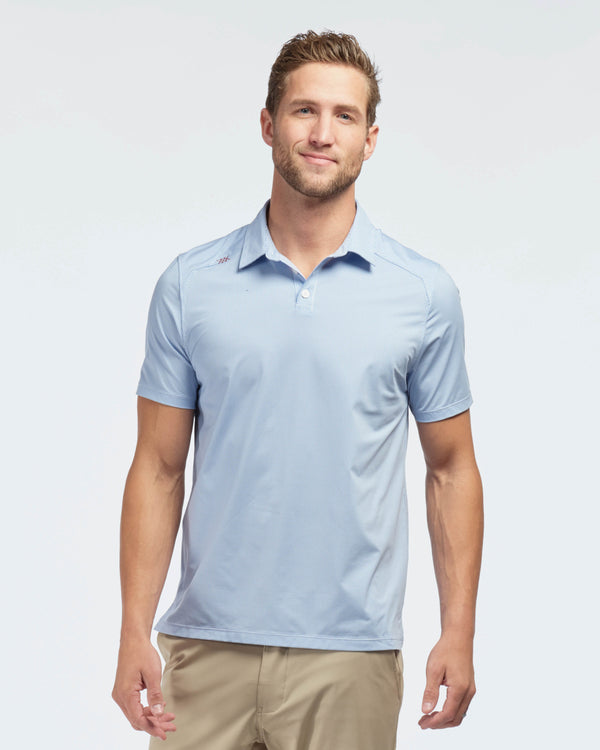 Commuter Tech Polo, Blue Micro Check