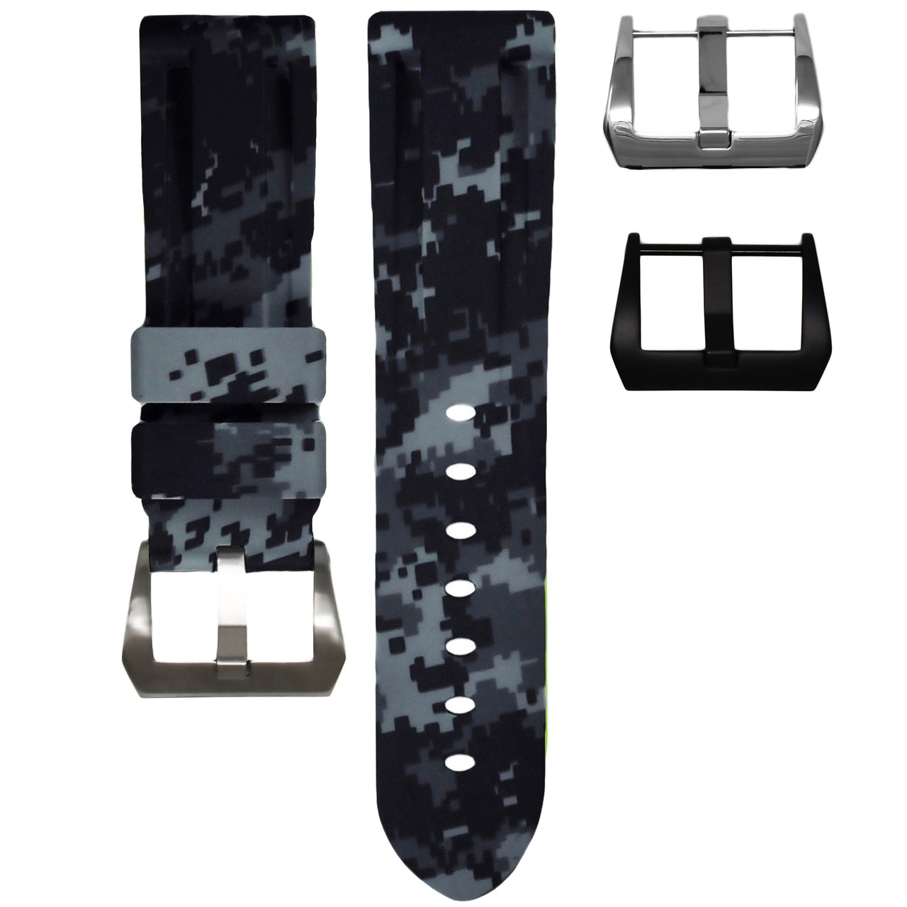 HORUS Graphite Digital Camo Rubber Strap, 22mm