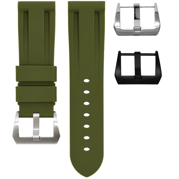 HORUS Olive Green Rubber Strap, 22mm