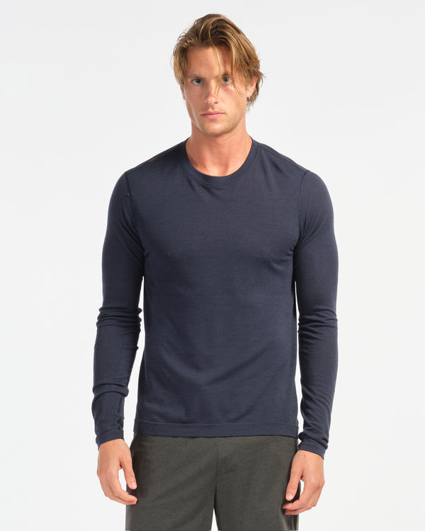 Taupo Wool Seamless Long Sleeve, Navy