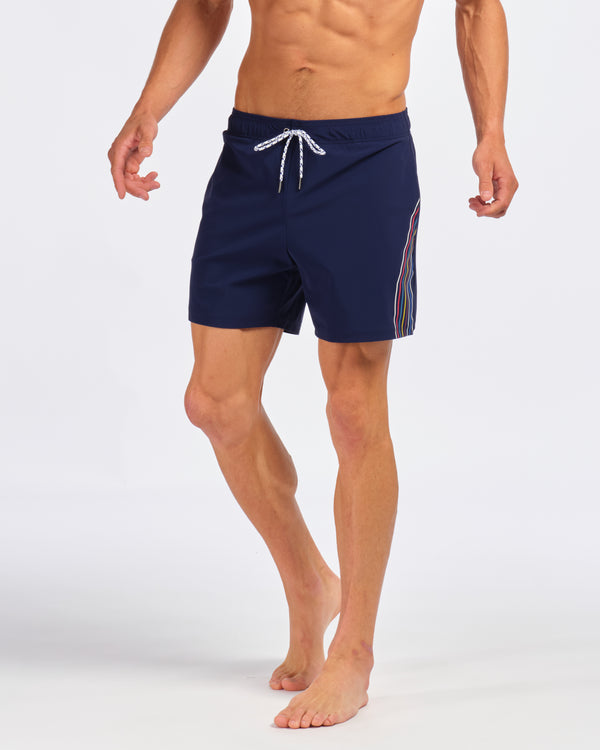 "Fletcher Trunk, Navy Stripe 6"" Inseam"