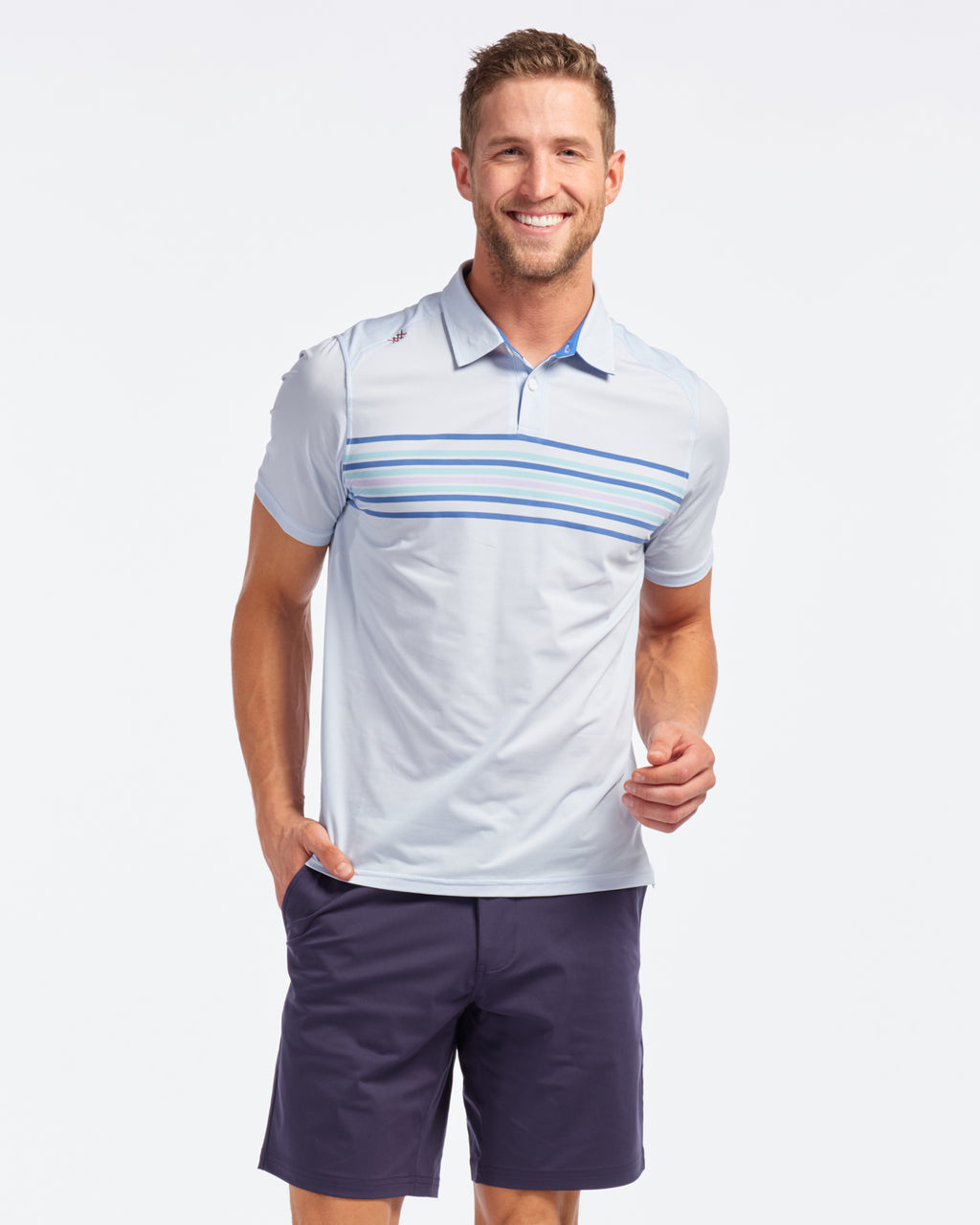 Resort Polo, White Oxford Stripe