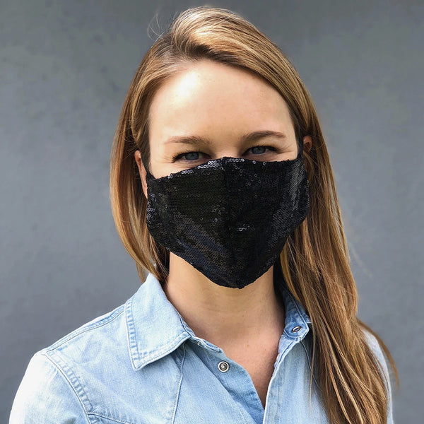 Black Sequin Face Mask, Adult Size