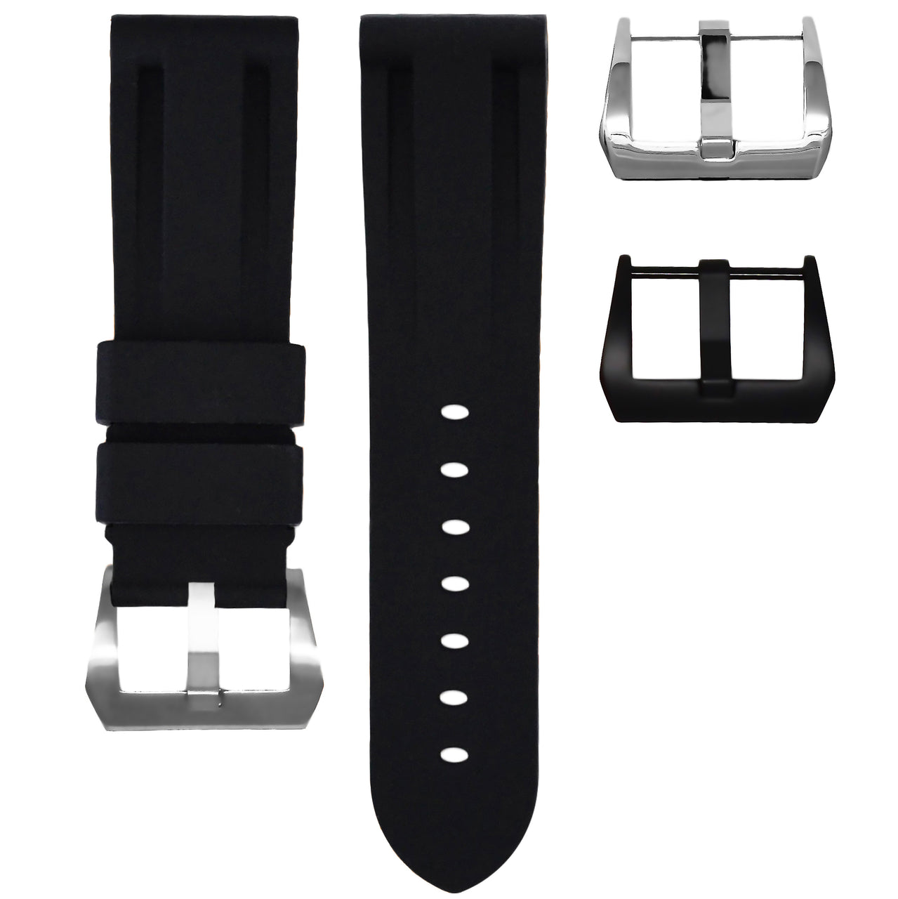 HORUS Solid Black Rubber Strap, 24mm