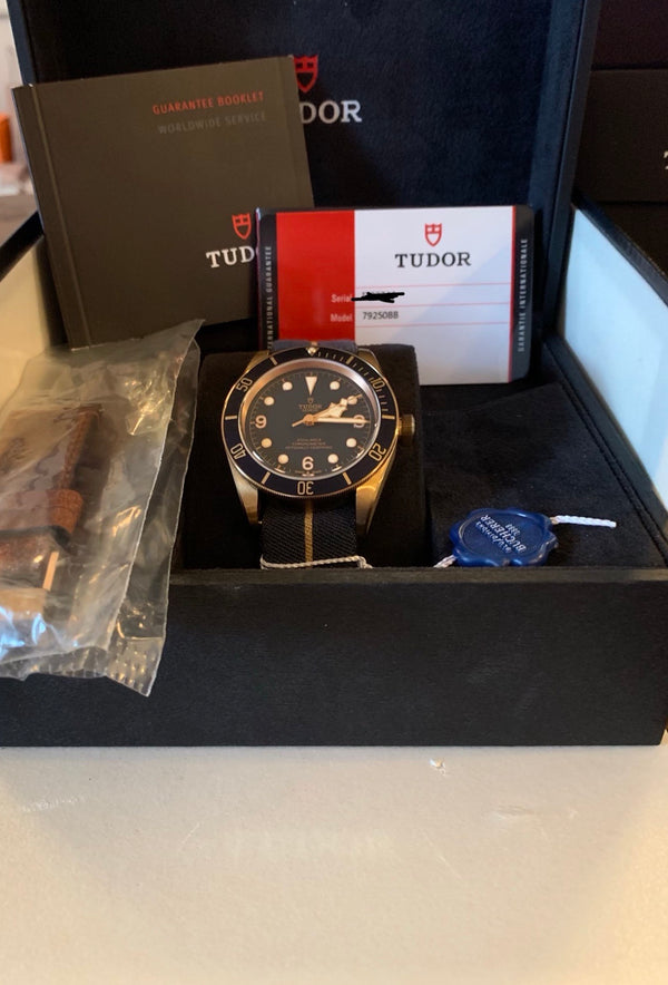NIB Tudor Black Bay Bronze, Bucherer Special Edition Blue Ref. 79250BB