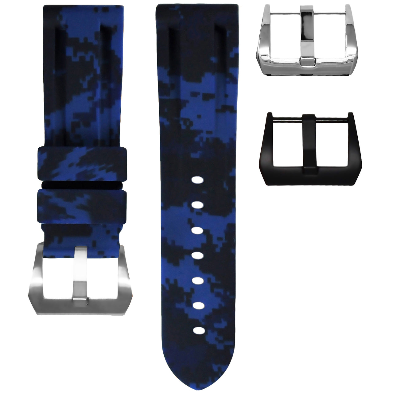 Rolex Navy Blue Digital Camo Rubber Strap, 40mm
