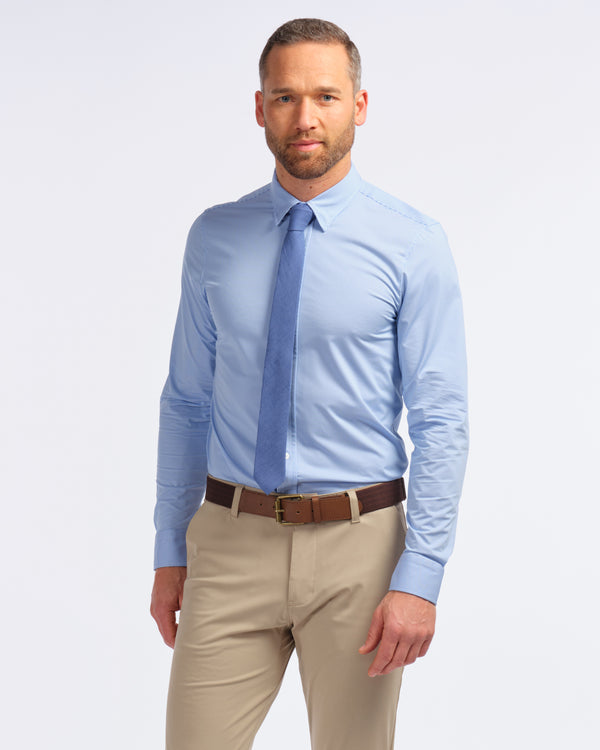 Commuter Dress Shirt, Blue Micro Check