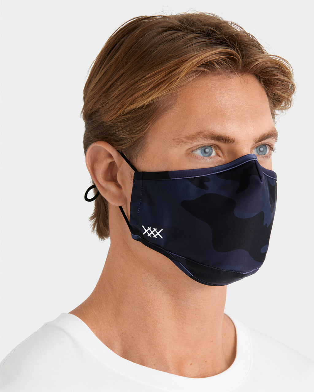 Washable 3 Layer Protective Face Mask, Navy Camo