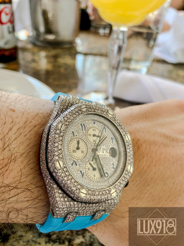 Audemars Piguet 26170ST, 16 CTW VVS1 F Diamonds, Custom Full Pave Case & Dial