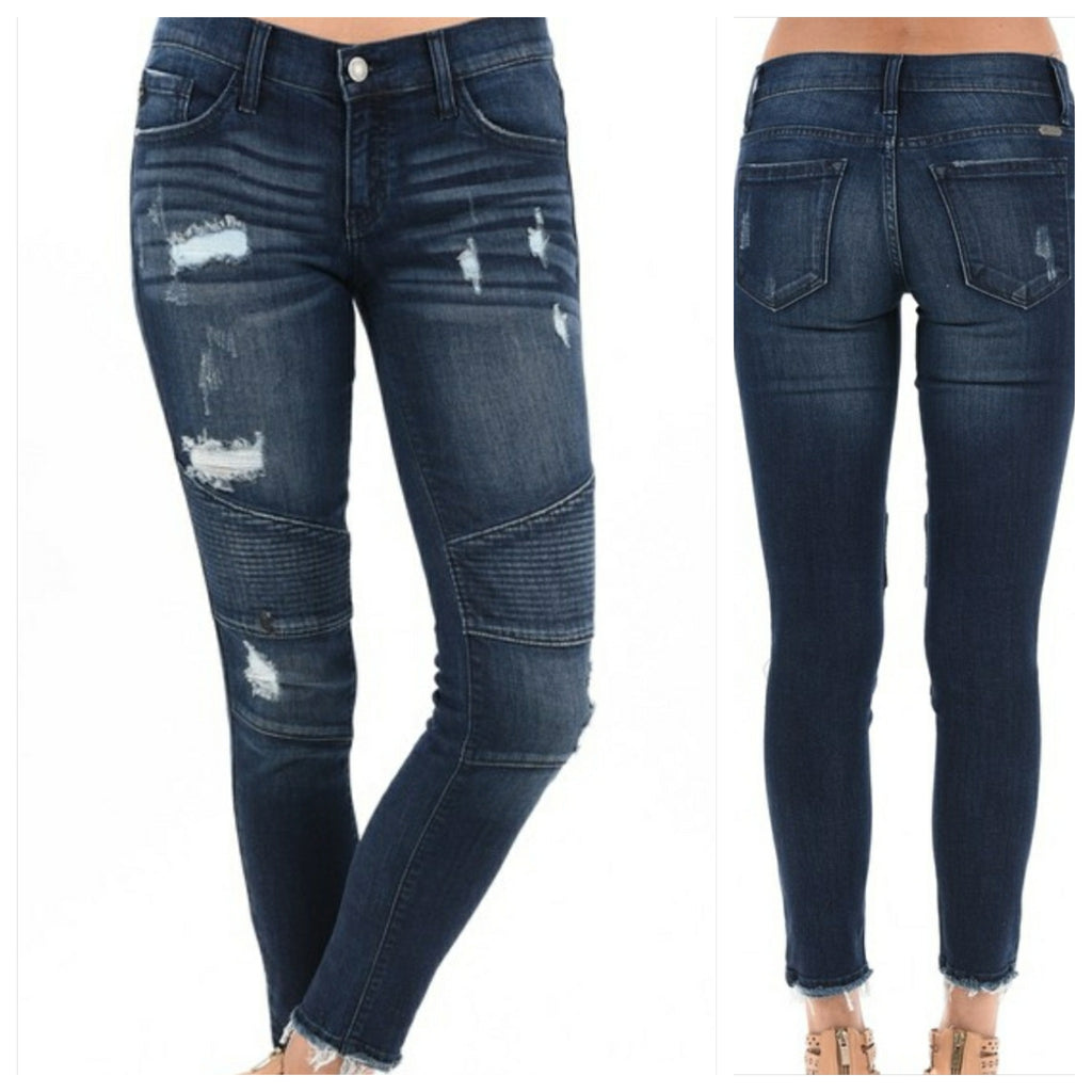 Kan Can Distressed Moto Jeans