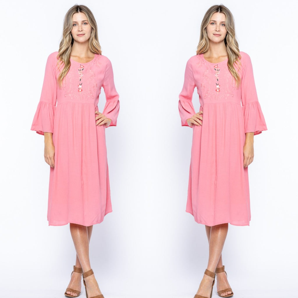 Embroidered Bell Sleeve Blush Midi Dress