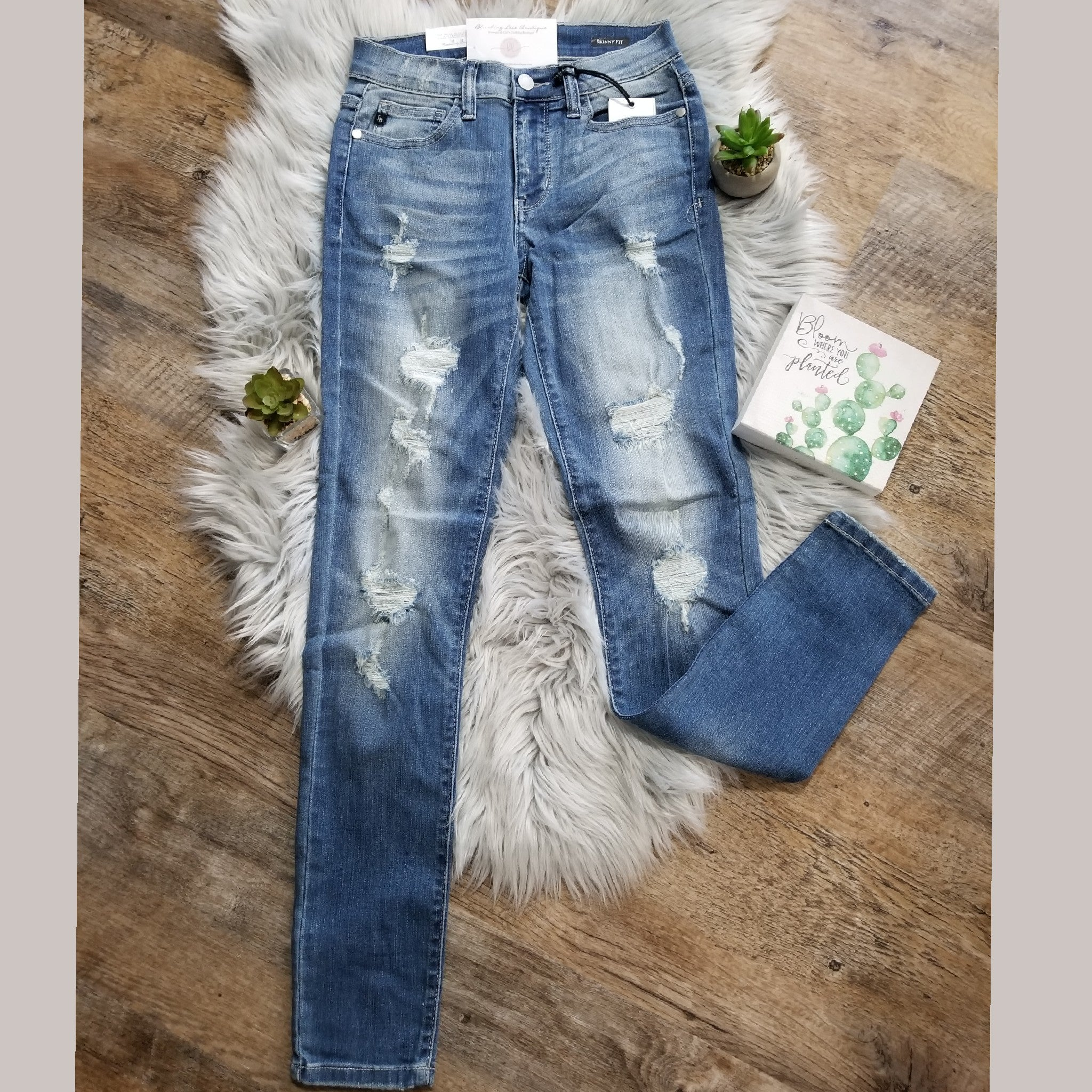 Distressed Light Wash Skinnies