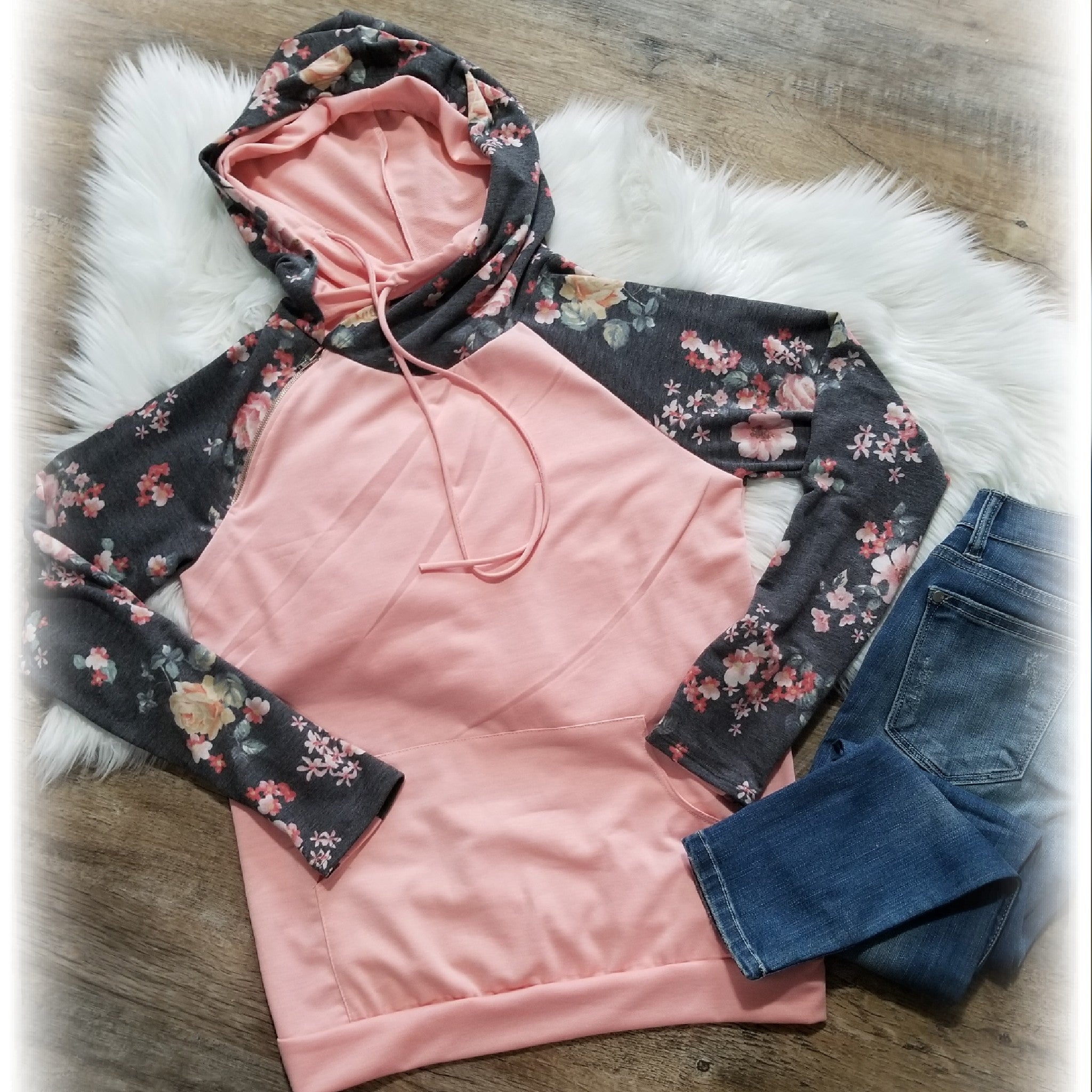 Blush and Charcoal Double Hoodie