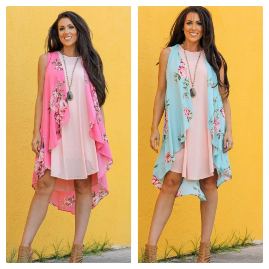 Floral Sleevless Duster