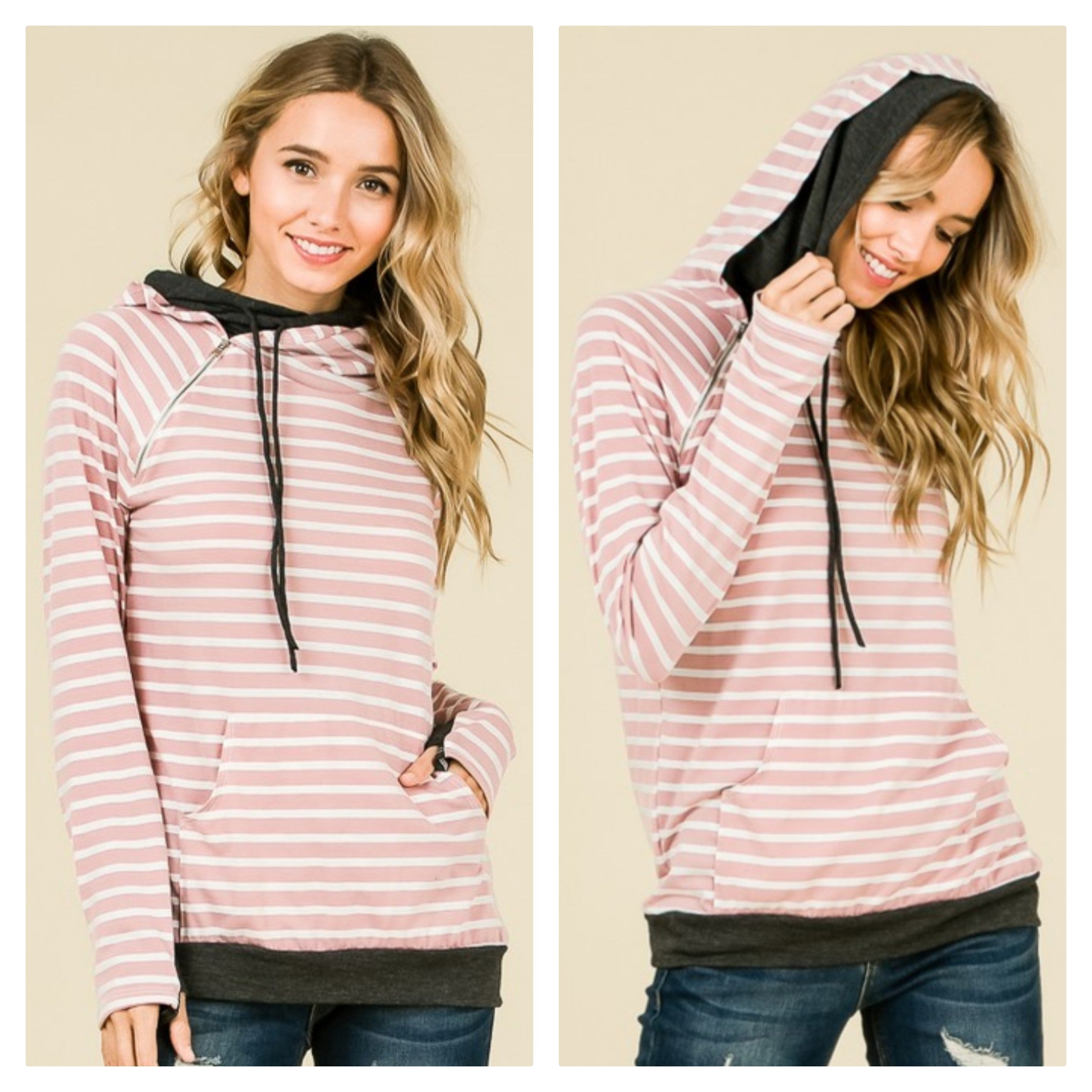 Mauve Striped & Charcoal Double Hoodie