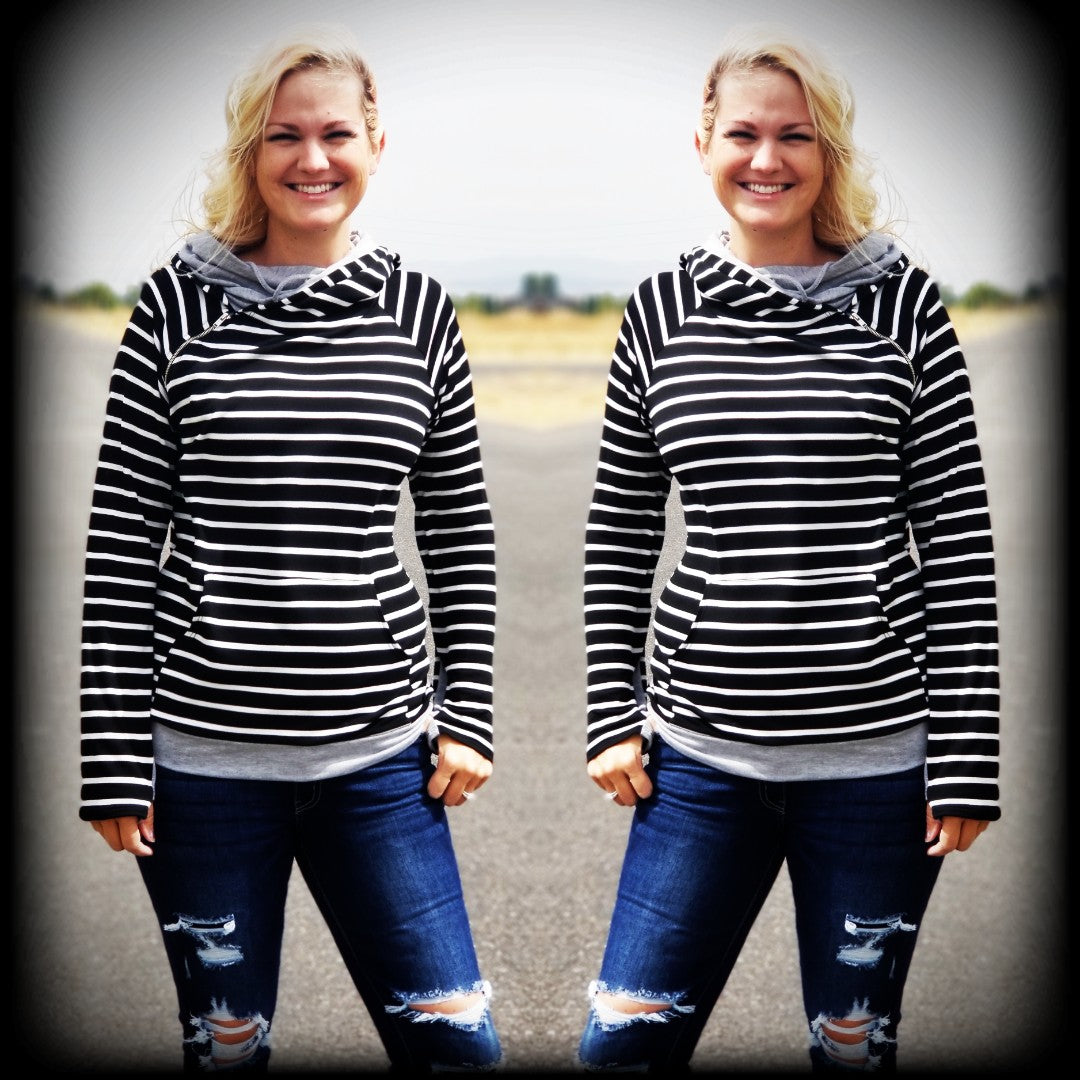 Black & White Striped Double Hoodie