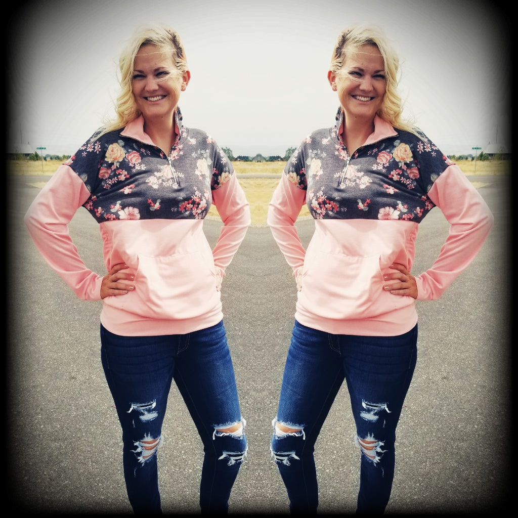 Blush & Charcoal Floral Half Zip Pullover