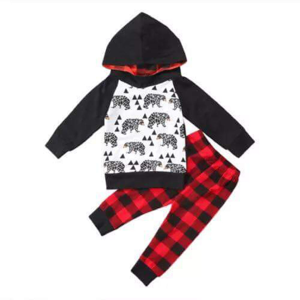 Bear and Buffalo Plaid Hoodie Set-Infants