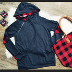 Charcoal & Buffalo Plaid Double Hoodie
