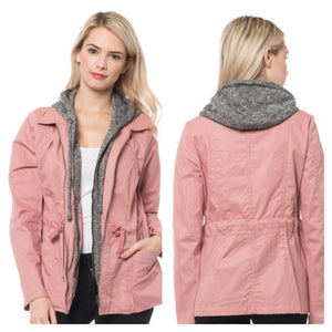 She Works Hard For The Money Utility Jacket-Blush