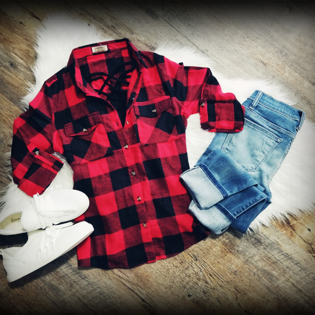 Flannel Is My Favorite Top-Red