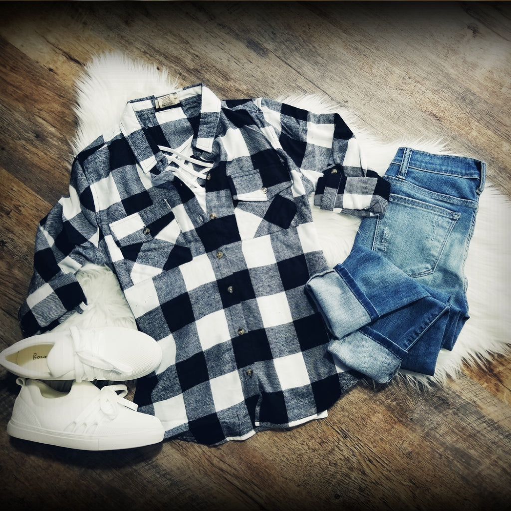 Flannel Is My Favorite Top-White