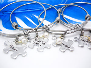 Personalized Wedding Jewelry - Set of Puzzle Piece Bracelets