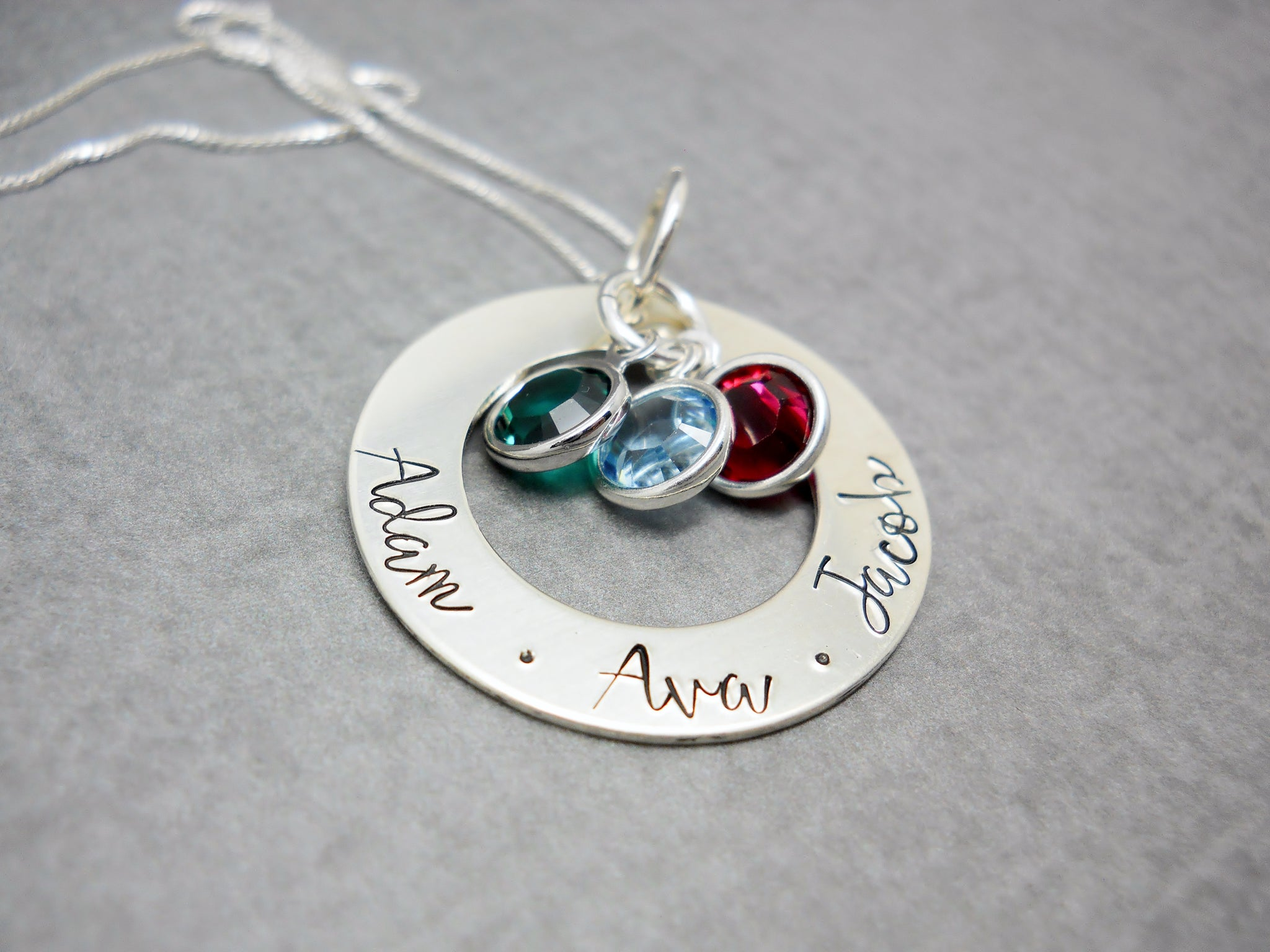 DELENA CIASTKO DESIGNS, hand stamped custom name necklace
