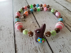 "Polymer clay chocolate bunny 17"" girls' necklace"