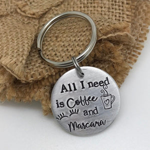 All I need is Coffee and Mascara Key chain | dcdjewelry.com