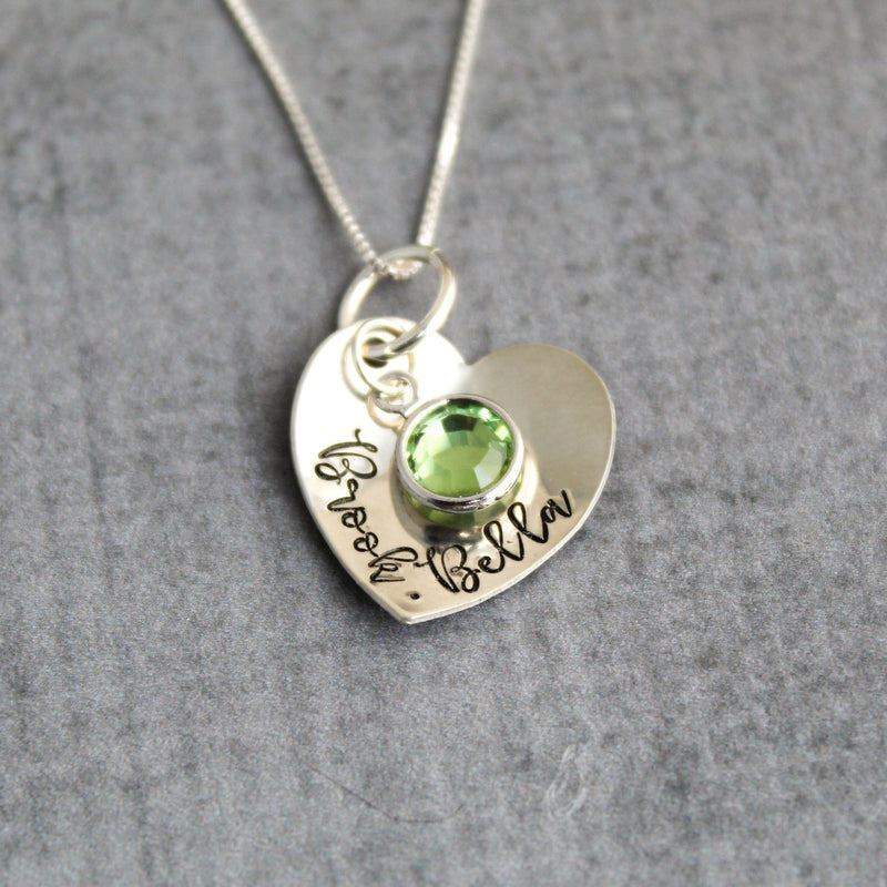 personalized necklace sterling silver heart with kids names