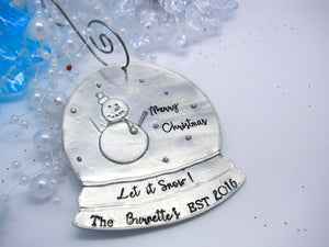 Personalized Snow Globe Christmas Ornament, flat lay