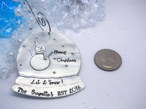 Personalized Snow Globe Christmas Ornament, size comparison to a quarter