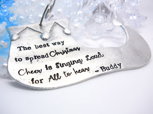 Pewter Elf Shoe ornament, personalized Christmas ornament - Sweet Tea & Jewelry