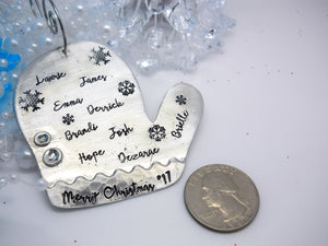 Pewter personalized mitten Christmas ornament, personalized Christmas ornament, glove ornament - Sweet Tea & Jewelry