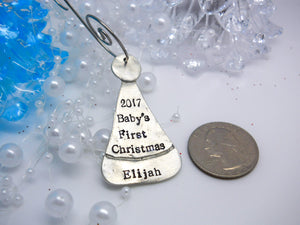 Personalized Santa Hat Ornament, Baby's First Christmas - Sweet Tea & Jewelry
