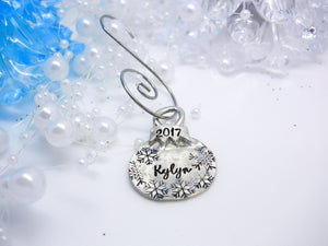 Pewter small Christmas Ball Ornament, Personalized Christmas Ornament, Custom Kids Name Ornament - Sweet Tea & Jewelry