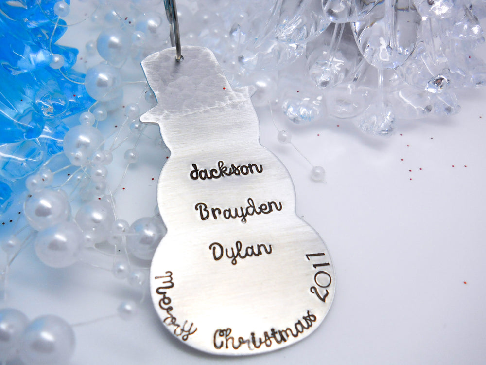 Personalized Snowman Christmas Ornament - Sweet Tea & Jewelry