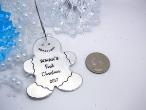 Gingerbread man Christmas ornament, Baby's first Christmas ornament - Sweet Tea & Jewelry