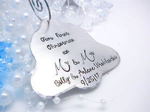 Personalized bell Christmas ornament, bell shaped ornament, Our first Christmas ornament - Sweet Tea & Jewelry