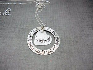 Your Wings Were Ready Sterling Silver Memorial Necklace, flat lay