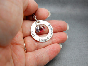 Personalized Washer Necklace with kids names, gift for mom - Sweet Tea & Jewelry
