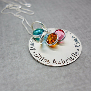 Sterling Silver Personalized Mom Necklace with Kids Names