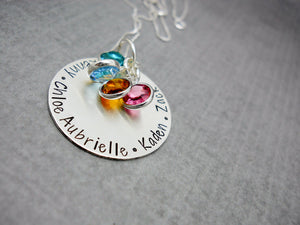 Sterling Silver Personalized Mom Necklace with Kids Names, close up