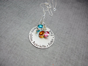 Sterling Silver Personalized Mom Necklace with Kids Names, flat lay