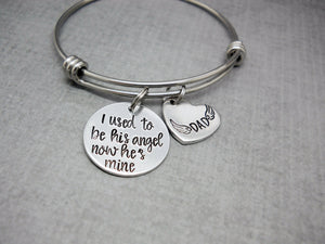 I Used To Be His Angel Memorial Bracelet | Hand Stamped Bracelet, Wide View