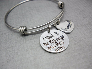 I Used To Be His Angel Memorial Bracelet | Hand Stamped Bracelet, Details